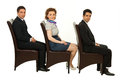 image photo : Waiting business people on chairs
