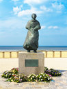 Waiting for her sailorman memorial the return of the sailor man sculpture at the new scheveningen seashore the hague netherlands Royalty Free Stock Photography
