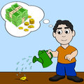 Waiting for money to grow concept cartoon illustration showing a man watering a coin and dreaming about it growing into more Stock Image