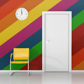 Waiting room a wall clock on the colored wall in the wait here Royalty Free Stock Photography