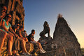Waiting sunset at pre rup angkor temple in is the most suitable place to watch the Royalty Free Stock Photo