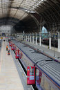 Waiting trains in paddington station london view of at platforms england the nearest train is an hst with doors open as it is Stock Photography