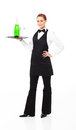Waitress with champagne Royalty Free Stock Images