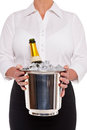 Waitress with Champagne bottle in Ice bucket Stock Images