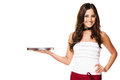 Waitress with a empty tray happy brunette on white background Stock Images