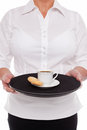 Waitress with Espresso coffee and Amaretti biscuits, Stock Images