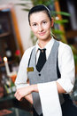 Waitress girl of commercial Royalty Free Stock Photos
