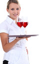 Waitress holding tray Royalty Free Stock Photos