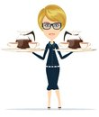 The waitress holding a tray of drink vector cute coffee illustration Stock Photos