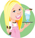 Waitress With Ice Cream Shake Illustration Royalty Free Stock Photography