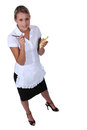 Waitress with an order pad full length shot of a Royalty Free Stock Photography