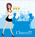 Waitress serving colorful drinks illustration Royalty Free Stock Photography