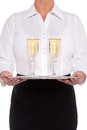 Waitress serving glasses of Champagne Royalty Free Stock Image