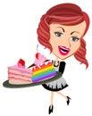Waitress serving sliced cakes
