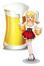 A waitress with six mug of cold beers illustration on white background Royalty Free Stock Photo