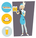 Waitress with a tray and a beer. Set with objects