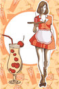 Waitress with a tray on roller skates, vector art. Waitress from a diner. Short skirt.