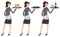 Waitress vector illustration of a young holding tray with beer coffee and wine on white background Royalty Free Stock Images