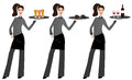 Waitress vector illustration of a young holding tray with beer coffee and wine on white background Stock Images