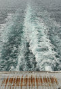 Wake of boat at sea viewed from rear ship Royalty Free Stock Photos