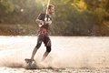 Wake bord rider having the fun is Royalty Free Stock Images