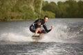 Wake bord rider having the fun is Stock Image