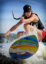 Wake surfing canadian caroline villeneuve competes in the st annual calabogie surf championship held on calabogie lake ontario Stock Photo