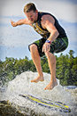 Wake surfing drew danielo competes in the st annual calabogie surf championship held on calabogie lake ontario canada on july drew Stock Images