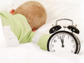 Wake up with alarm clock little caucasian boy during daytime sleep Royalty Free Stock Images