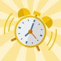Wake up alarm clock, Vector Flat design. Royalty Free Stock Photo