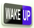 Wake up button awake and rise means Royalty Free Stock Images