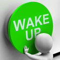 Wake up button means alarm awake or morning meaning Stock Photos