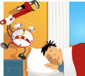 Wake up crazy cartoon alarm clock hitting a sleeping man with an adjustable wrench Royalty Free Stock Photography