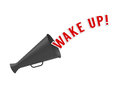 Wake up megaphone on white background with pop caption concept of alarm or call to rouse from sleep inactivity apathy or Royalty Free Stock Photo