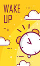 Wake up poster with alarm clock. Thin line flat design. Vector good morning background