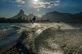 Wake up wakeboard at rodrigo de feitas lagoon with dois irmãos hill and pedra da gávea at the back rio de janeiro brasil Royalty Free Stock Photos