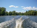 A Wake on the water from boats Royalty Free Stock Photo