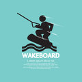 Wakeboard player symbol vector illustration Royalty Free Stock Photo