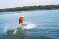 Wakeboarder in the process of training Royalty Free Stock Photo
