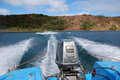 Wakeboarding at lake motor boat view north island new zealand Stock Image