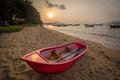 Wakeup caravel sea boat sand sun in the morning Royalty Free Stock Image