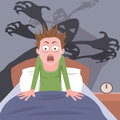 Waking up from nightmare cartoon of person having bad dreams Stock Image
