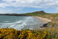 Wales coast whitesands bay neasr st davids uk beach brides west in the pembrokeshire national park the pembrokeshire path passes Royalty Free Stock Photos