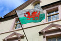 Wales flag on a building in the town of Caernarfon,Great Britain Royalty Free Stock Photo