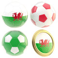 Wales football team attributes isolated set of four soccer ball on white Royalty Free Stock Photography