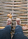 Walk across wooden bridge Royalty Free Stock Photo
