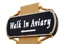 Walk in aviary direction indicator to birds zoo Royalty Free Stock Images
