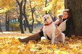 Walk with dogs cute woman walking Stock Photo