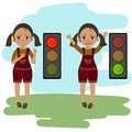 Walk. Dont walk signal explanation by girl. Royalty Free Stock Photo