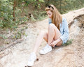 Walk emotional young girl summer day in the forest park. Royalty Free Stock Photo